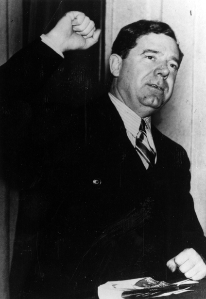 Huey Long during a radio broadcast