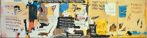 Undiscovered Genius of the Mississippi Delta 1983 Acrylic, oil paintstick, and paper collage on canvas, five panels 48 x 184 inches