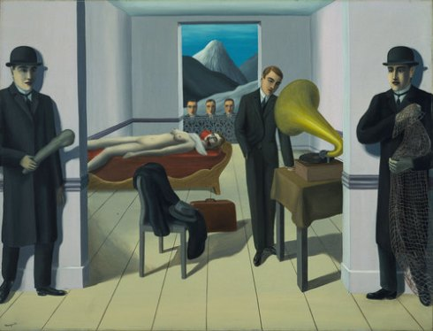 "René Magritte. The Menaced Assassin. Brussels, 1927. Oil on canvas, 59 1/4"" x 6' 4 7/8"""