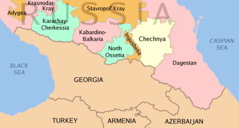 Location  of Chechnya in Caucasus
