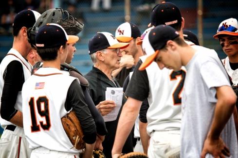 Newton North HS Varsity Baseball coach Joe Siccliano (photo :Cheryl Clegg)