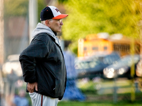 Newton North HS Varsity Baseball coach Joe Siccliano (photo :Cheryl Clegg)