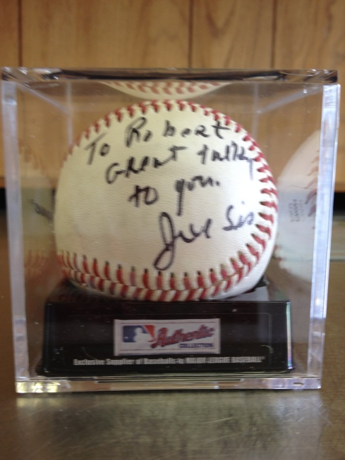 Baseball signed by Coach Joe Siciliano [photo; Robert Birnbaum]
