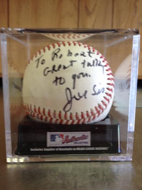 Baseball signed by Coach Joe Siciliano [photo; Robert Birnbaum]