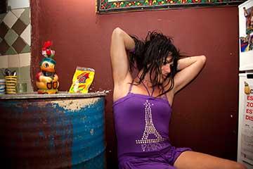 From Transcuba—Amanda at home wearing Eiffel Tower T-Shirt
