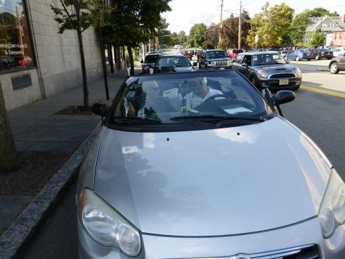 Flanagan & Birnbaum, sitting in car [photographer unknown]