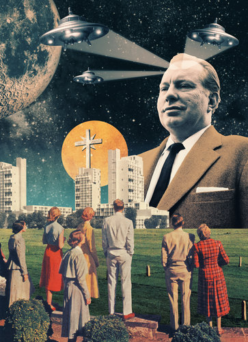 Illustration featuring L Ron Hubbard [borrowed from the NYT]
