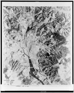 Aerial photo of Nagasaki after Atom Bombing [Library of Congress]