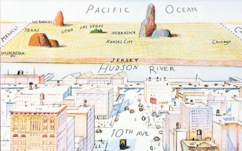 Saul Steinberg, detail from New Yorker cover